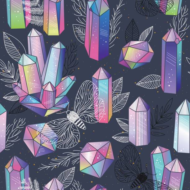 Bекторная иллюстрация Gems, crystals seamless pattern vector