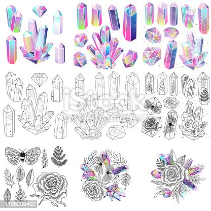 Magical fairytale crystals gem stones and leaves, rose, moths, vector isolated set. Colored, black and white elements.