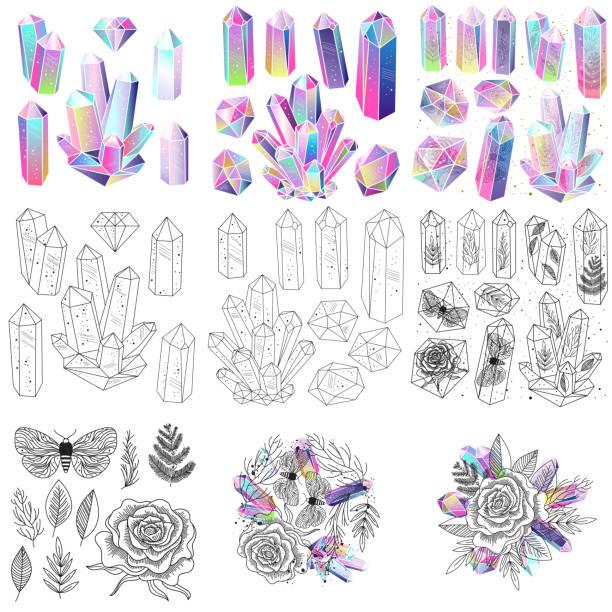 bildbanksillustrationer, clip art samt tecknat material och ikoner med ädelstenar, kristaller set vektor - kristall