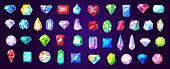 Gems, diamond and ruby vector precious stones
