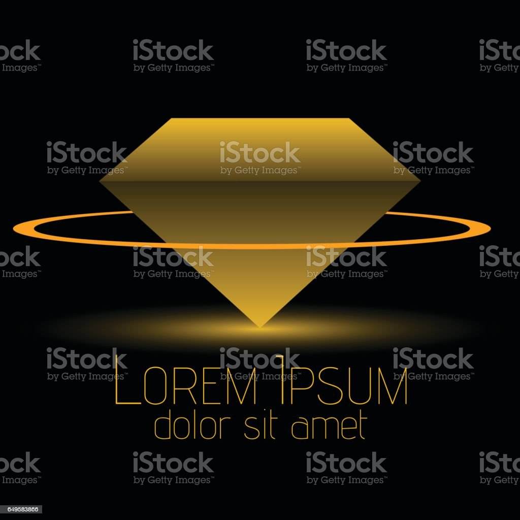 Gems, Jewelry, fashion industries logo design. Diamond shape logo in the center of a golden ring. vector art illustration