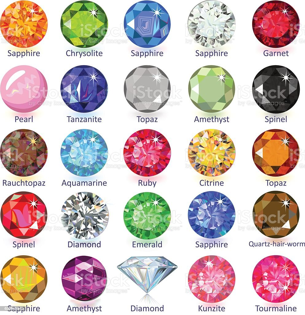 Gems Naming Chart Stock Illustration - Download Image Now
