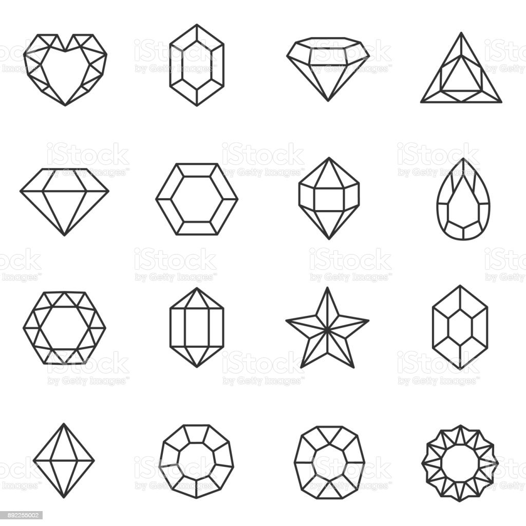 Gems set. Jewels and diamonds collection. Line with Editable stroke vector art illustration