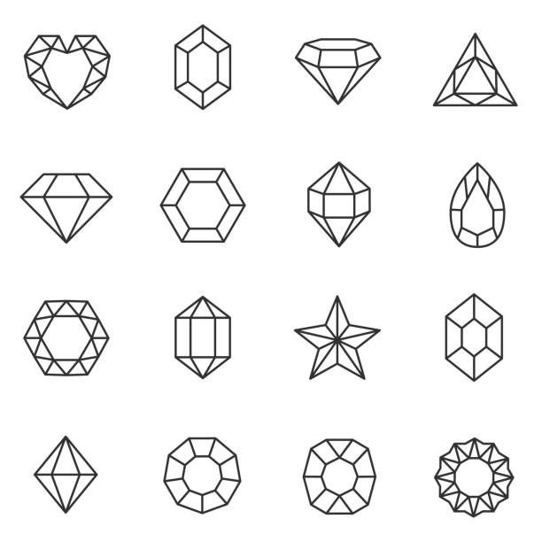 Gems set. Jewels and diamonds collection. Line with Editable stroke Gems icons set. Jewels and diamonds collection. diamond stock illustrations