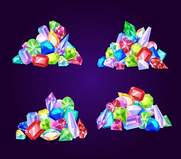 Piedras preciosas y joyas gemas joya - ilustración de arte vectorial