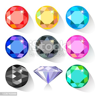 Gemstone cut color shape set isolated on white background, vector illustration