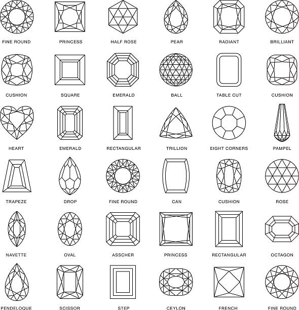 stockillustraties, clipart, cartoons en iconen met gemstone cuts thin line icons (including captions) - edelsteen