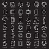 A large set of thin line icons showing some of the most popular gem cuts. Black and white line art. 36 total icons including cuts like princess, cushion, emerald, step, trillion, table, heart, rectangular, round, brilliant, radiant, rose and so on.