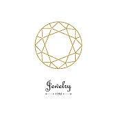 Gemstone faceting gold pattern. Vector illustration.