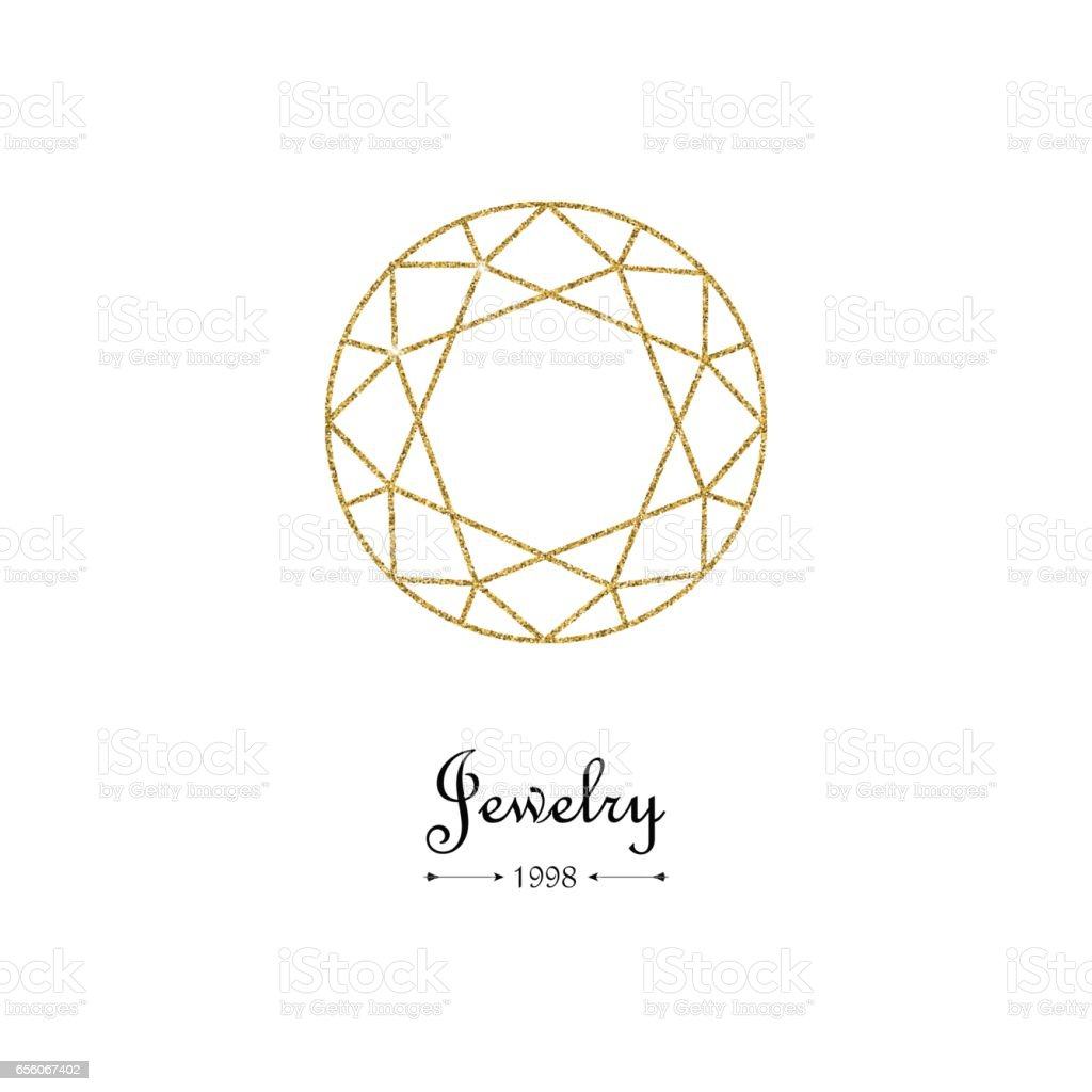 Gemstone faceting gold pattern. Vector illustration. vector art illustration