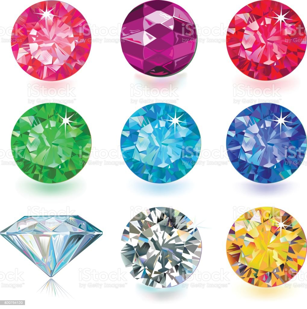 Gemstone jewerly set vector art illustration