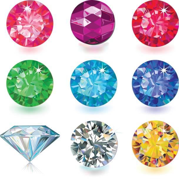 ilustraciones, imágenes clip art, dibujos animados e iconos de stock de conjunto de joyería de piedras preciosas - joyas