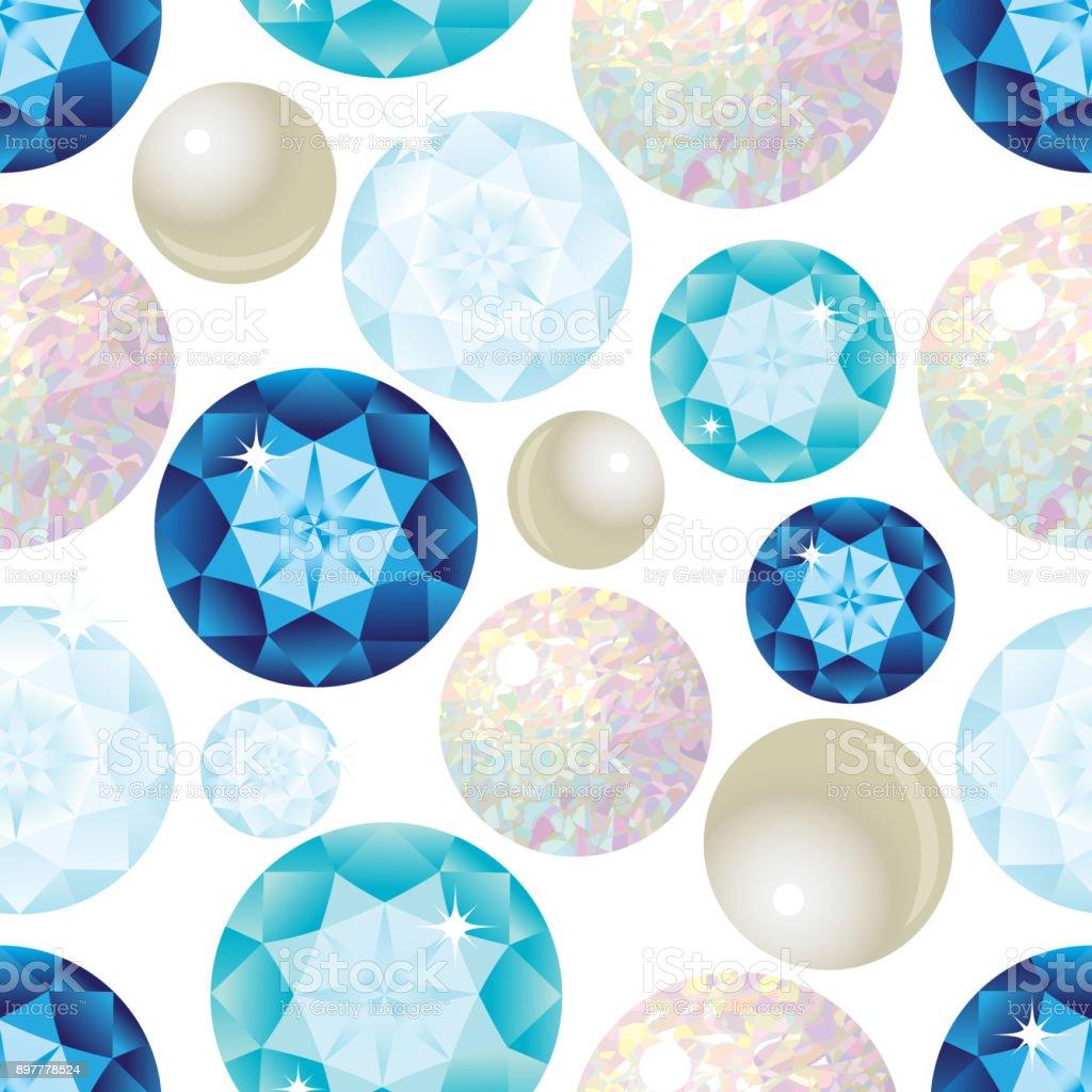 Gemstone Seamless Pattern. Vector Illustration. vector art illustration