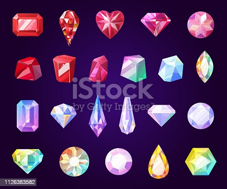istock Gemstones, jewel and precious stone icons 1126383582