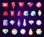 Gemstones jewelry icons. Diamond and brilliant, amethyst, quartz, garnet and emerald, aquamarine and sapphire. Ruby and turquoise, pearl gem. Isolated vector faceted rocks and precious stones