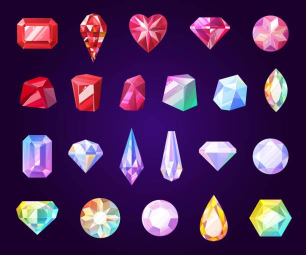 gemstones, jewel and precious stone icons - jewelry stock illustrations