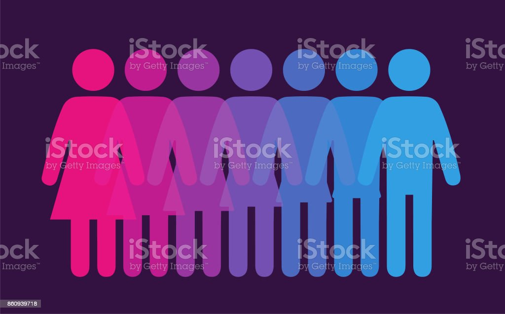 Gender blend vector art illustration