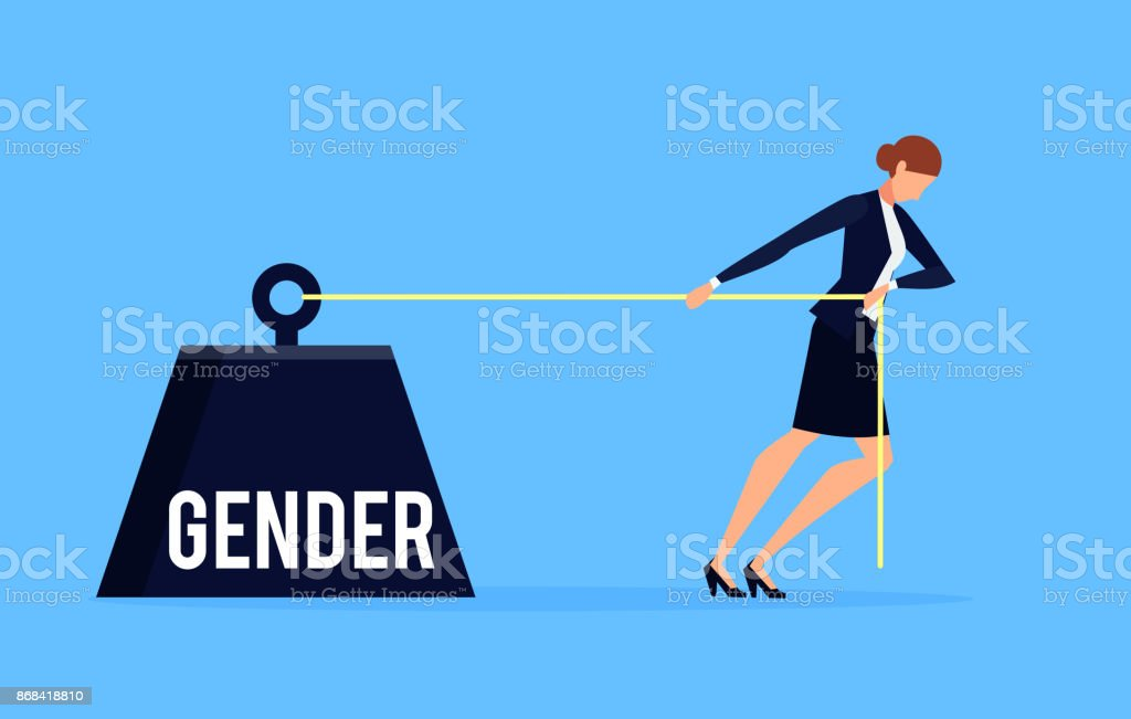 Gender. Business concept of discrimination in a flat style with businesswoman. vector art illustration