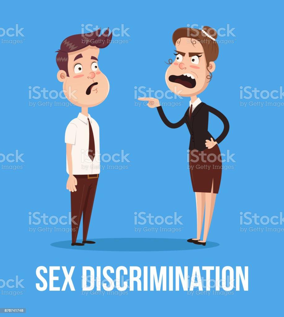 Concepto de discriminación de género. Mujer jefe enojado gritando en oficinista hombre carácter empleado - ilustración de arte vectorial