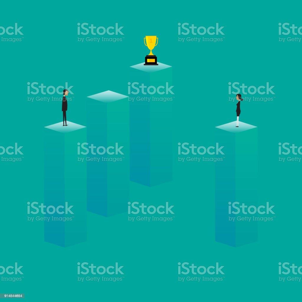 Concepto de discriminación de género. Discriminación femenina en el trabajo. Ilustración de dibujos animados plana - ilustración de arte vectorial