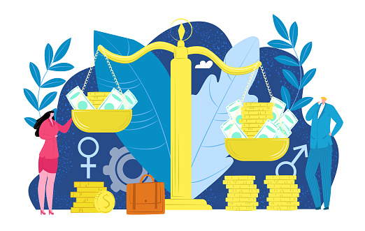 Gender discrimination for money, male female people at business work vector illustration. Sex equility at man woman career, wage and salary concept