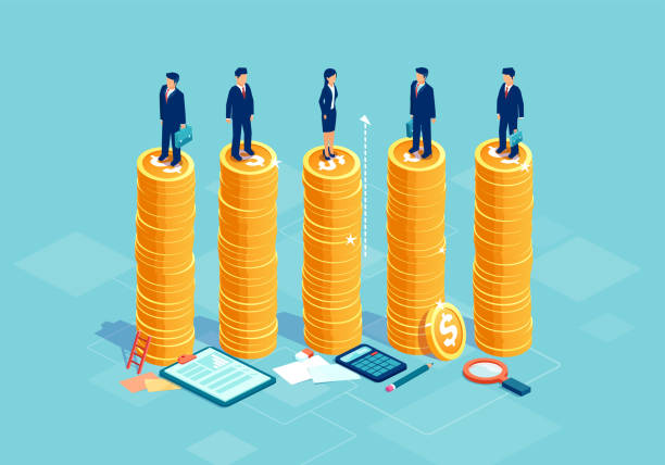 Gender equality and equal opportunities in corporate business concept Gender equality and equal opportunities in corporate business concept. Vector with businessmen and businesswoman on same pile of money. wages stock illustrations