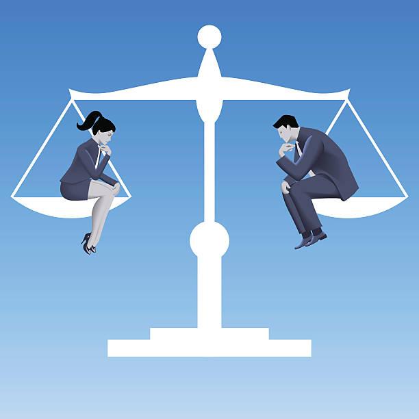 Gender equality business concept vector art illustration