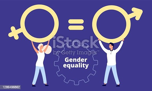 istock Gender equality concept. Flat vector male and female characters with sex sign 1286496862
