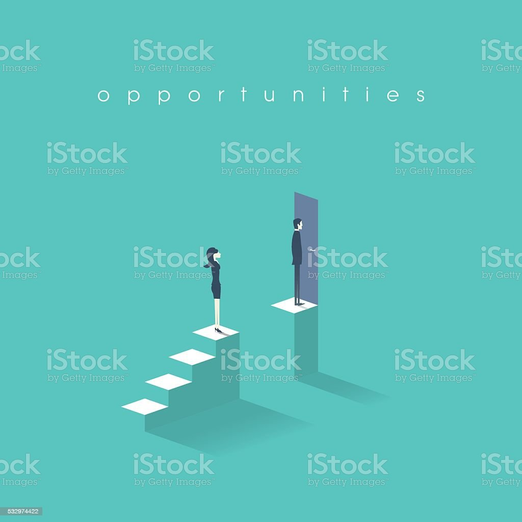 Gender equality concept with man versus woman symbol. Businessman vs vector art illustration