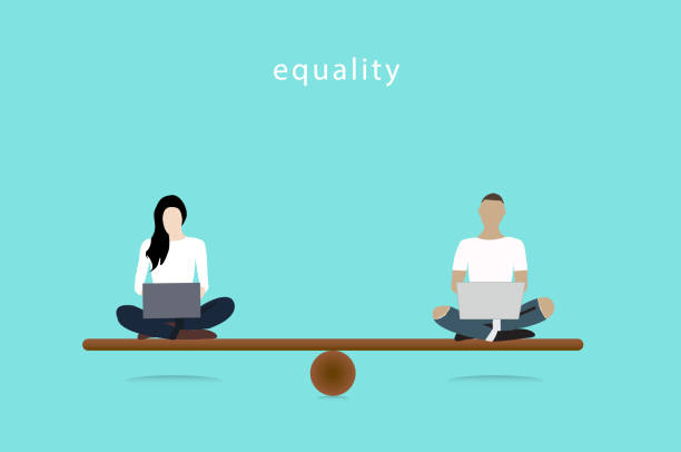 Gender Equality Concept. woman and man vector balancing on scale. Equality Vector illustrator. Gender Equality Concept. woman and man vector balancing on scale. Equality Vector illustrator. equality stock illustrations