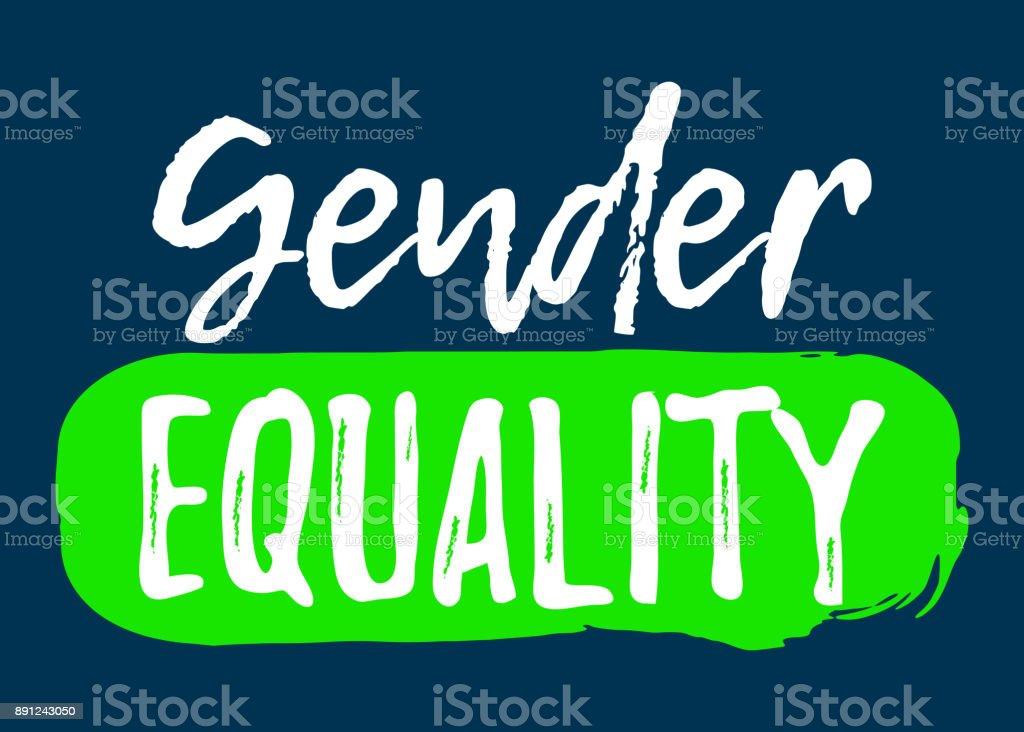 Gender Equality Label Font With Brush Equal Rights Badges Vector