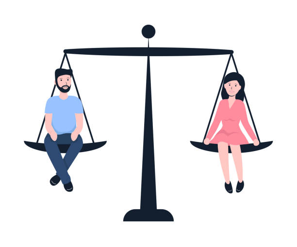 gender equality man and woman vector art illustration
