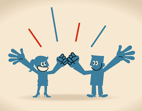 Gender Equality, smiling businessman and businesswoman cheering with fist bump and hand raised