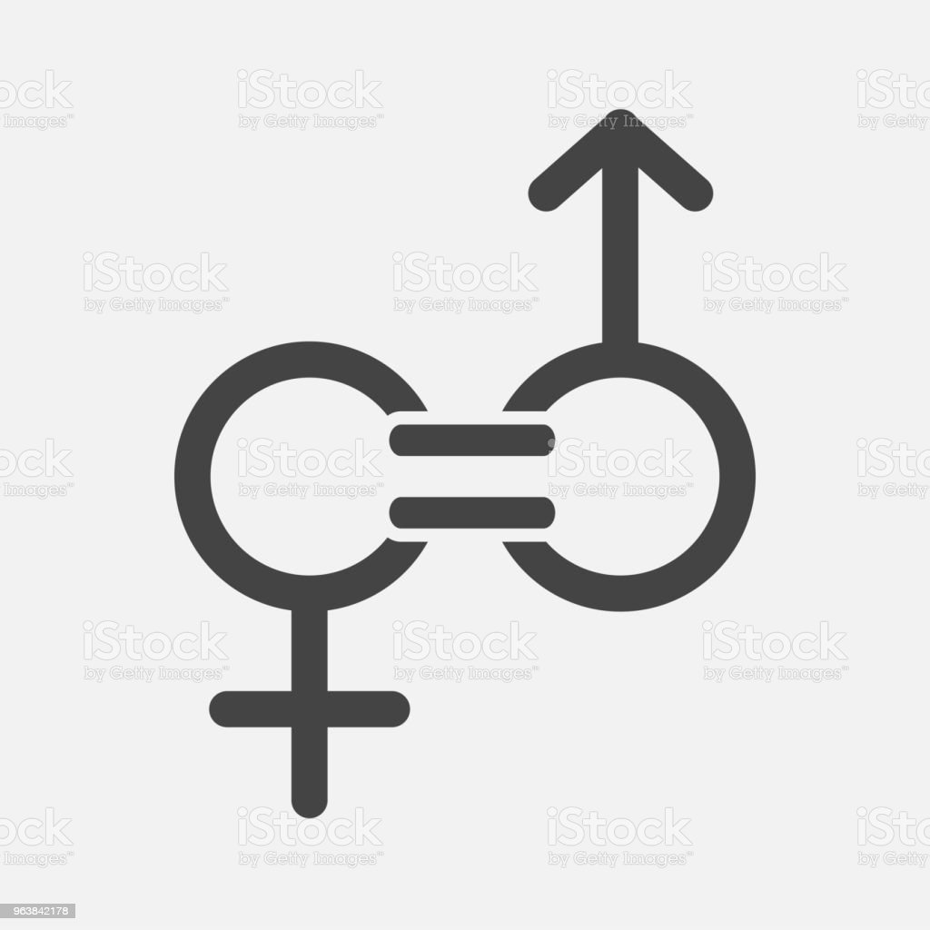 Gender equality vector icon. Sign of a man and woman are equal - Royalty-free Adult stock vector