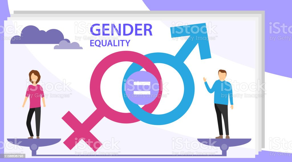 Gender equality vector illustration. Flat tiny persons with sex...