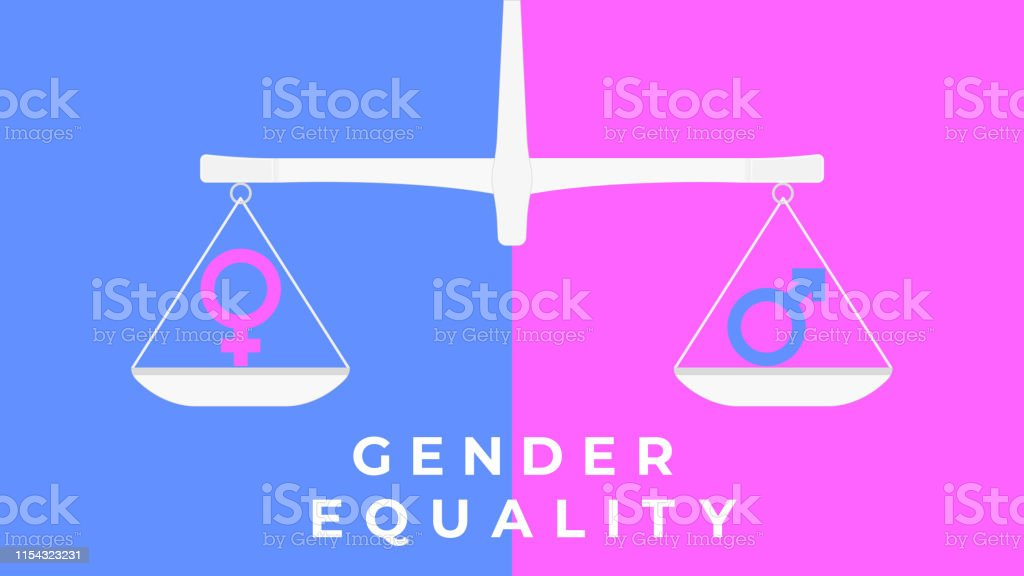 Gender symbols on scales in flat style.