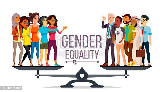Gender Equality Vector Man Woman Male Female On Scales -3753