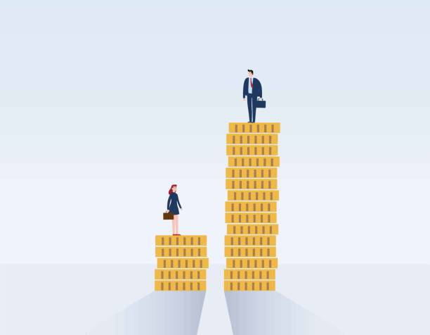 Gender gap and inequality in salary, pay vector concept. Businessman and businesswoman on piles of coins. discrimination, difference, injustice. Vector illustration flat cartoon character design Gender gap and inequality in salary, wages stock illustrations