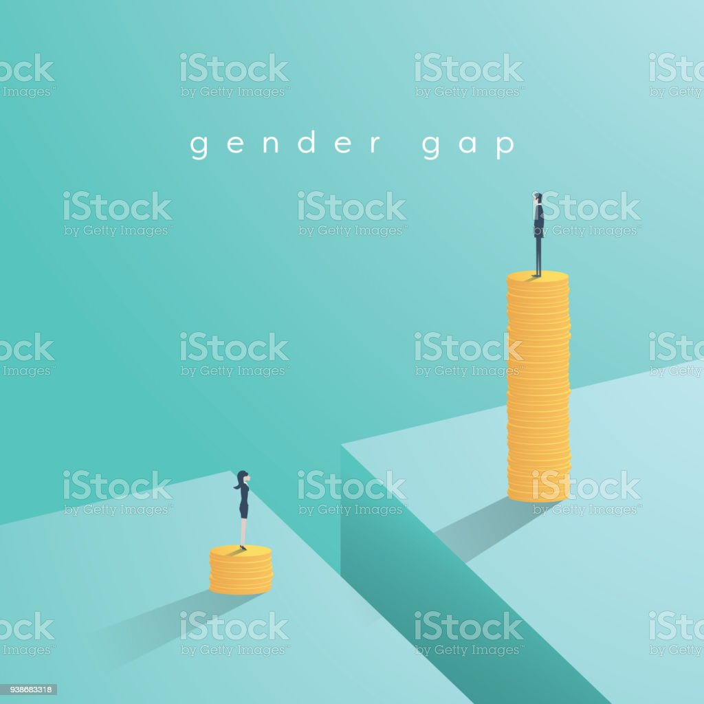 Gender gap and inequality in salary, pay vector concept. Businessman and businesswoman on piles of coins. Symbol of discrimination, difference, injustice vector art illustration