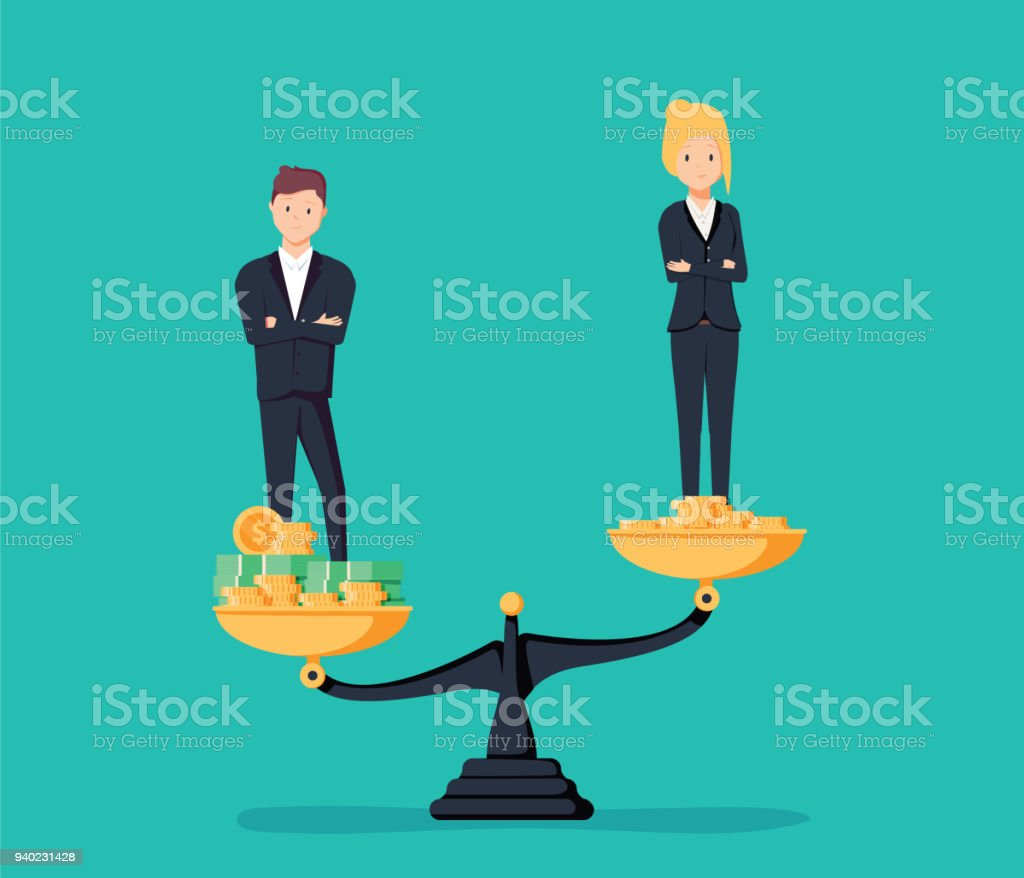 Gender gap and inequality in salary, pay vector concept. Businessman and businesswoman on piles of coins. vector art illustration