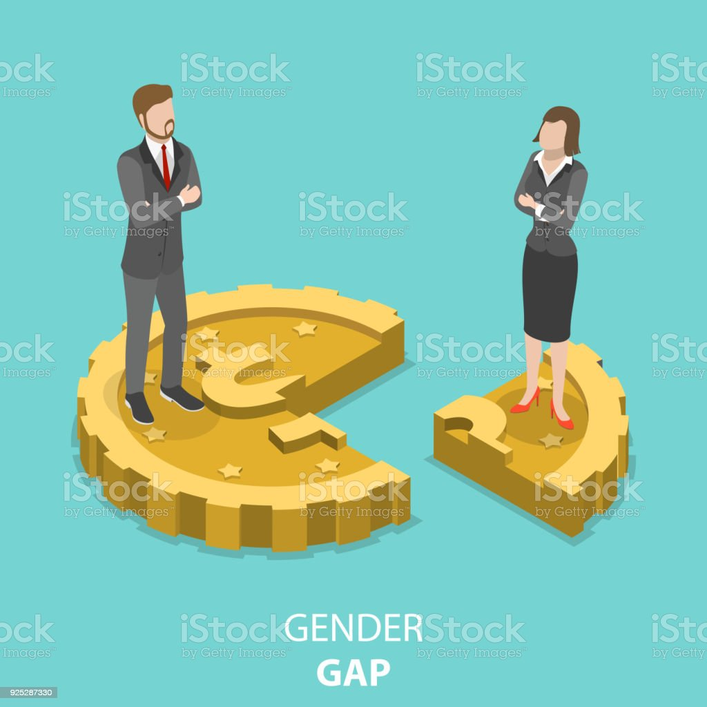Gender gap flat isometric vector concept. vector art illustration