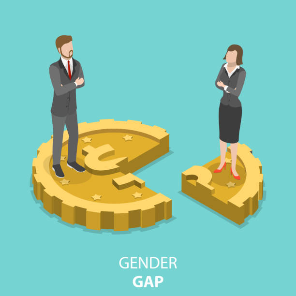 gender gap flat isometric vector concept. - good bye stock illustrations, clip art, cartoons, & icons