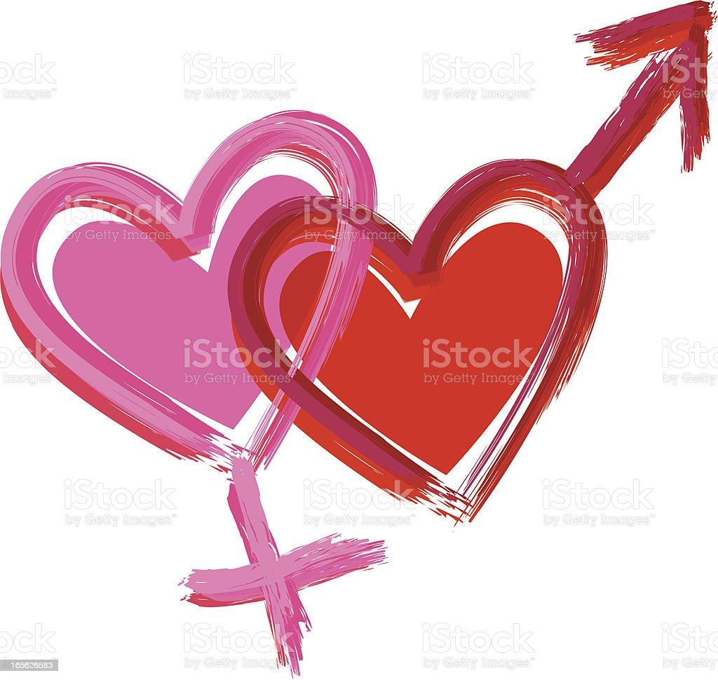 Gender hearts Two interlocked heart-shaped gender symbols. Adult stock vector