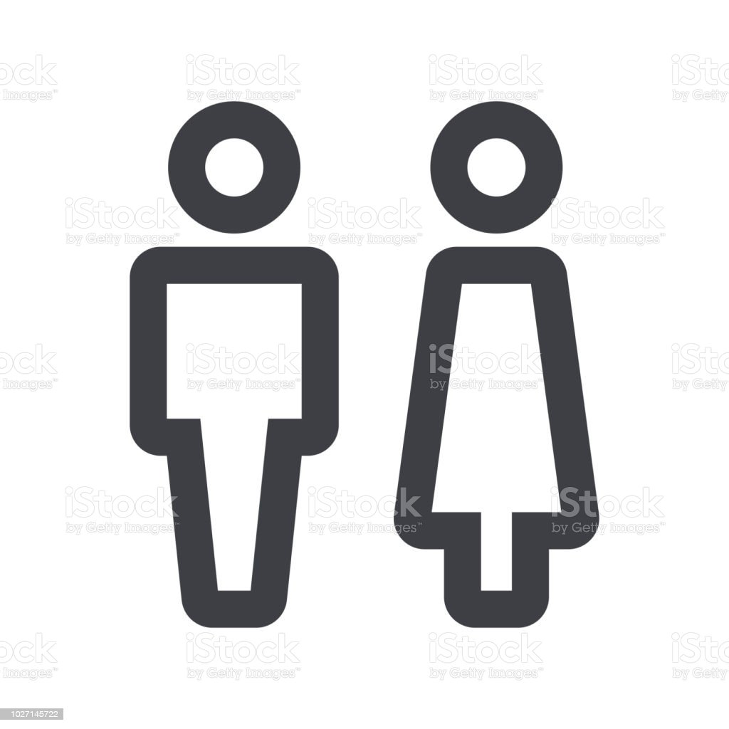 Gender Icon Man And Woman Icon Isolated Minimal Design Toilet Line ...