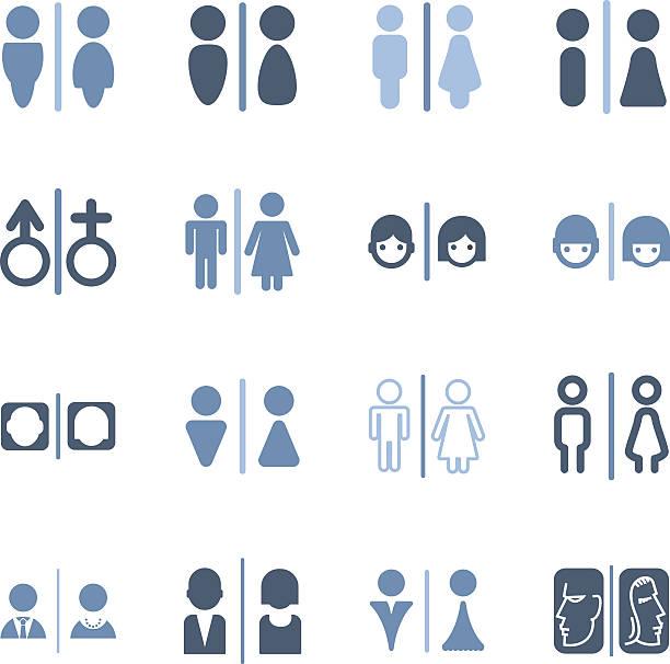 gender icons Illustration of gender icons on the white. bathroom patterns stock illustrations