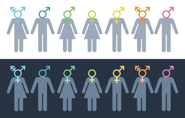 geschlechtliche identität und vielfalt - genderblend stock-grafiken, -clipart, -cartoons und -symbole
