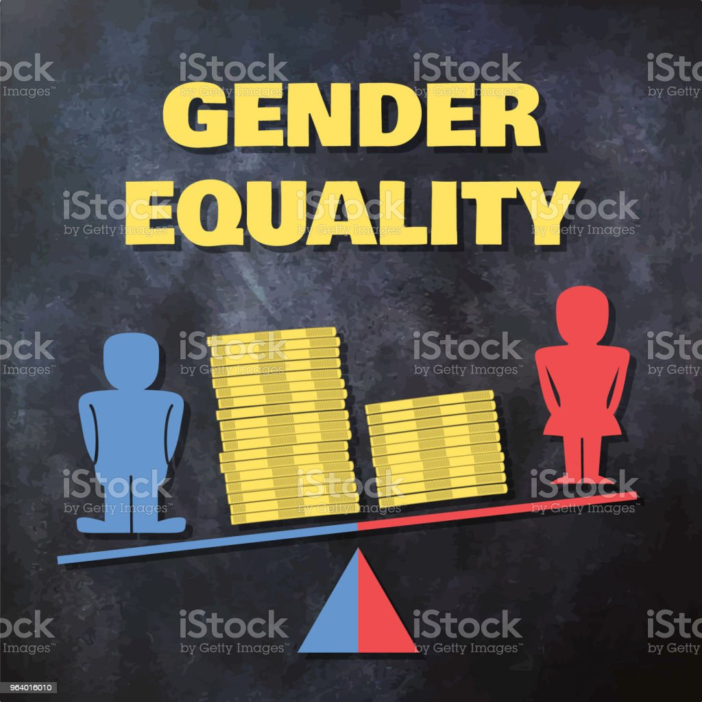 Gender inequality concept illustration - male and female figures standing on a tilted scale with piles of coins - Royalty-free Adult stock vector