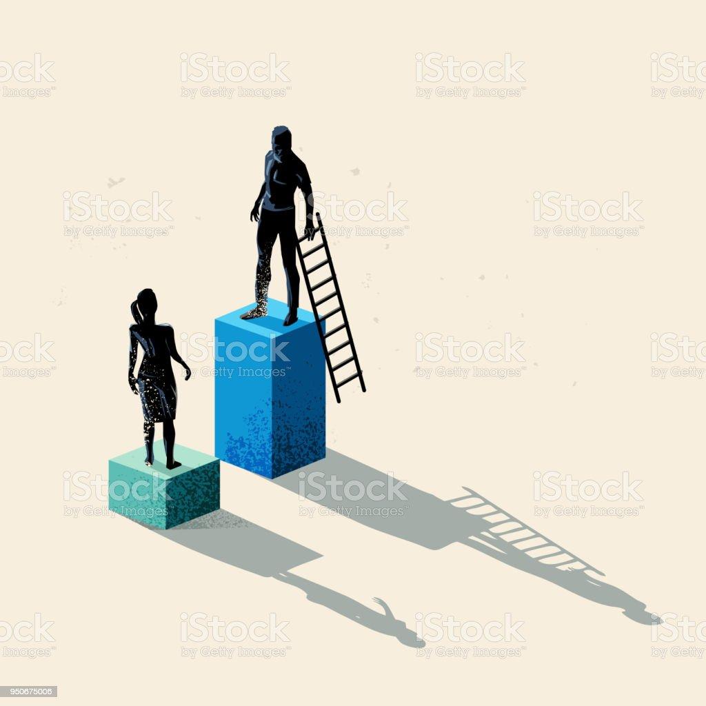 Gender inequality Concept vector art illustration