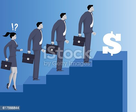 Gender Inequality On Career Ladder Stock Vector Art & More Images of Abstract 617566844