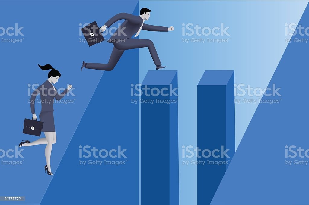 Gender inequality on career path vector art illustration